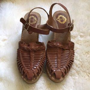 Boho Ecote Woven Caramel Leather Clog Sandals Sz 9